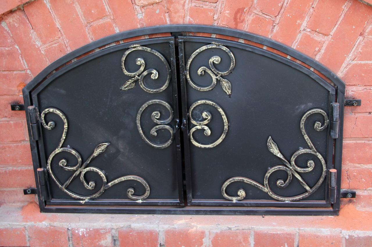 Дверцы кованые на барбекю очаг для камина электрический 3д