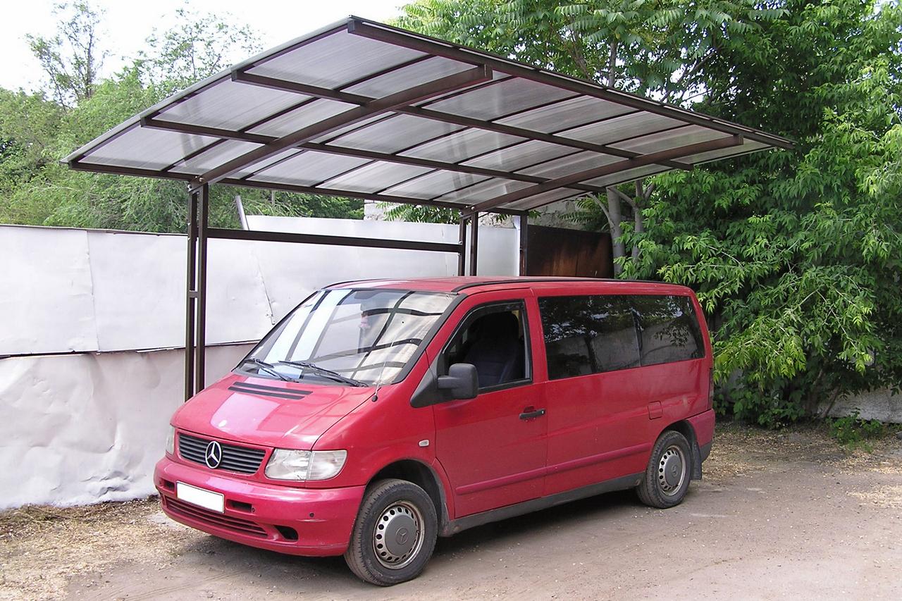 Навесы из поликарбоната к частному дому для авто